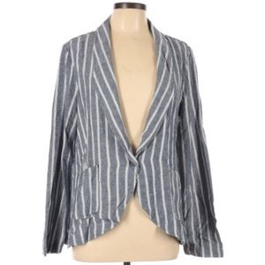 Sanctuary Linen Navy Cream Striped Blazer XL. T